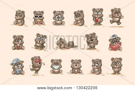 Set Vector Stock Illustrations isolated Emoji character cartoon Bear stickers emoticons with different emotions for site, info graphic, video, animation, websites, e-mails, newsletters, reports, comics