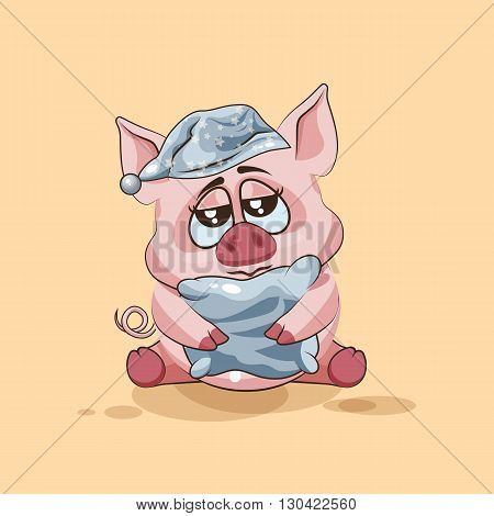Vector Stock Illustration isolated Emoji character cartoon sleepy Pig in nightcap with pillow sticker emoticon for site, infographics, video, animation, websites, e-mails, newsletters, reports, comics