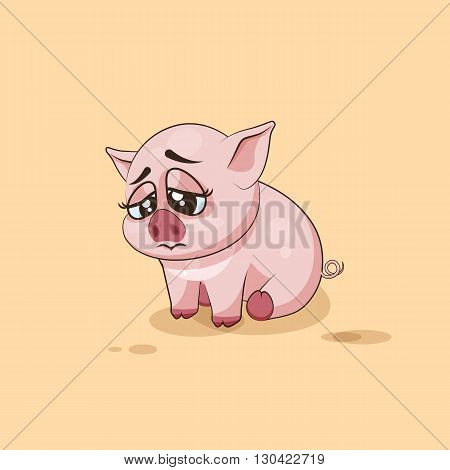 Vector Stock Illustration isolated Emoji character cartoon Pig sad and frustrated sticker emoticon for site, infographics, video, animation, websites, e-mails, newsletters, reports, comics
