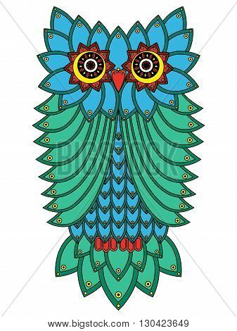 Big Owl Mainly In Blue And Green