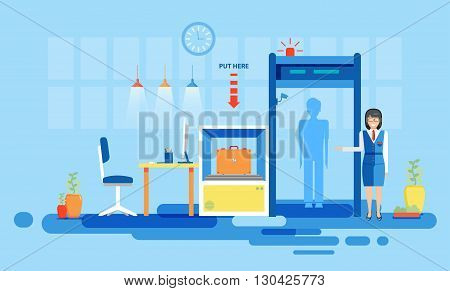Stock vector illustration interior airport, check luggage at airport, inspection at airport, airport detector for flights, business travel flat style element info graphic, website, games, motion design