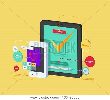 Stock vector illustration of mobile phone and tablet with application for ordering call back Isometric in flat style element for info graphic, website, games, motion design
