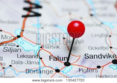 Falun pinned on a map of Sweden