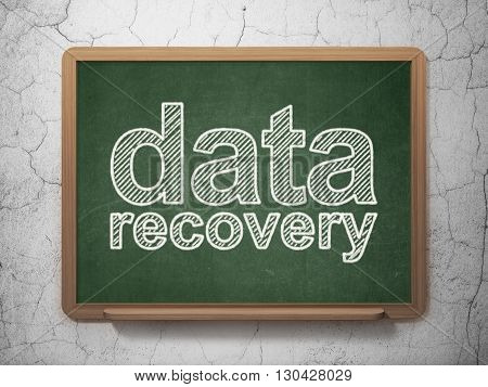 Data concept: text Data Recovery on Green chalkboard on grunge wall background, 3D rendering