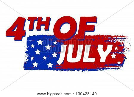 4th of July with stars over drawing flag banner - USA Independence Day, american holiday concept, vector