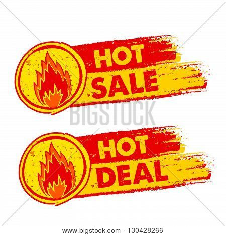 hot sale and deal on fire banners - text in yellow and red drawn labels with flames signs, business shopping concept, vector