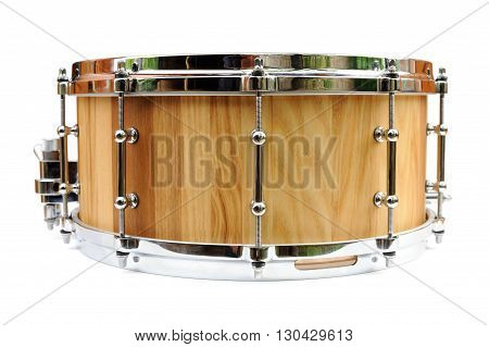 New wooden snare drum isolated closeup macro