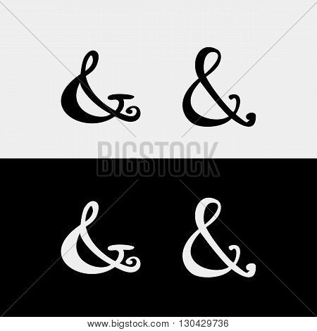 Set of decoration ampersands for letters, invitation. Hand drawn type.