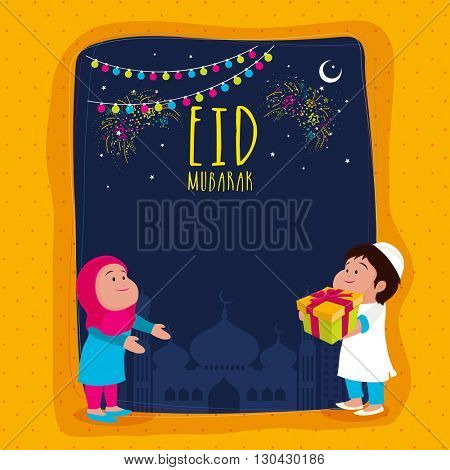 Elegant Greeting Card design with illustration of cute islamic couple on mosque silhouetted background for Muslim Community Holy Festival, Eid Mubarak celebration.