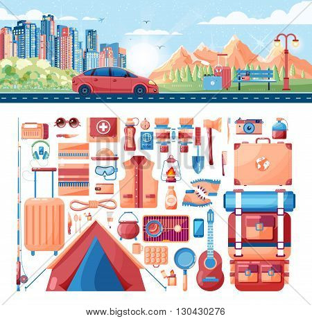 Stock vector illustration of day landscape, mountains, sunrise, travel, nature, car, city daylife, bench, luggage, set of sports equipment for outdoor activities in flat style element info graphics