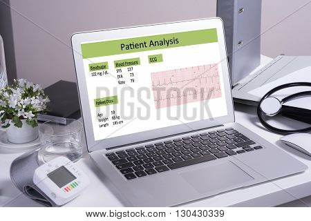 doctor's desk with patient analysis on computer screen