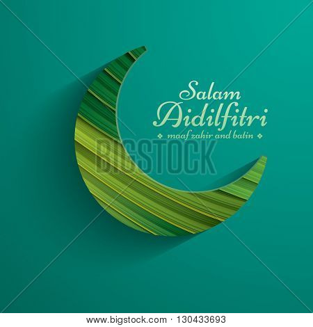 Paper graphic of crescent moon. The holy month of Muslim communities. Salam Aidilfitri means celebration day. Maaf zahir dan batin means please forgive (me) outwardly and internally.