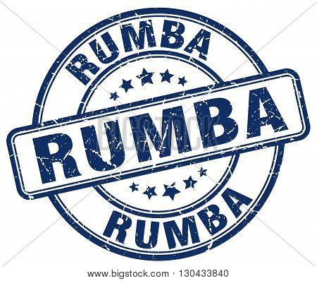 rumba blue grunge round vintage rubber stamp
