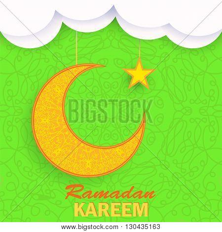 Ramadan Greetings Background. Ramadan Kareem Means Ramadan the Generous Month. Ramadan Greeting Card. Yellow Moon and Yellow Star on Green Ornamental Background