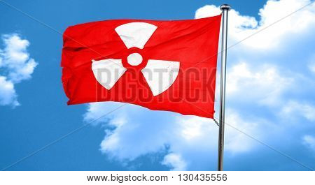 Nuclear danger background, 3D rendering, a red waving flag
