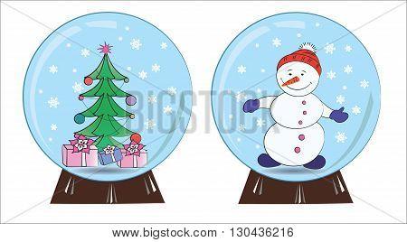 Souvenir snowman and Christmas tree in a snow globe vector illustration