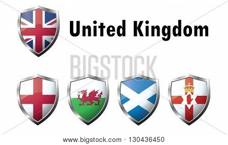 Flag Icons of the United Kingdom. Vector graphic images of glossy flag icons.