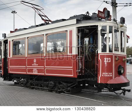 Istanbul Turkey - September 21 2012: the former tram on Istiklal Street in Istanbul Taksim-Tunel carry passengers.