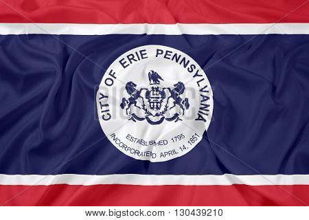 Waving Flag of Erie Pennsylvania, with beautiful satin background