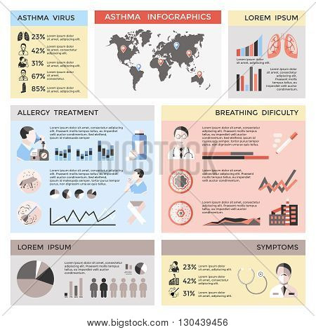 Bronchial asthma infographics with world map doctor patient lungs pills pet dust statistics graphs diagrams vector illustrations