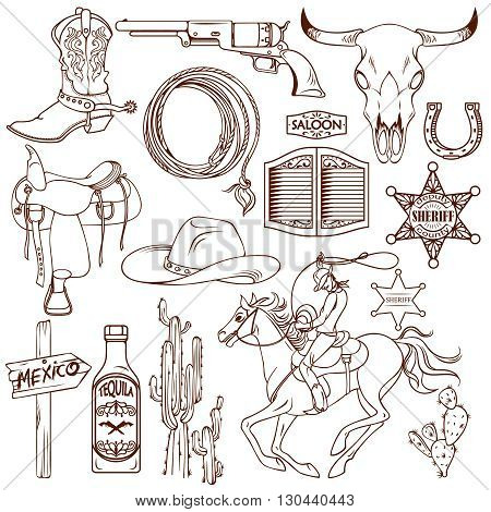 Wild west monochrome icon set with description of necessary things cowboy and local flavor vector illustration