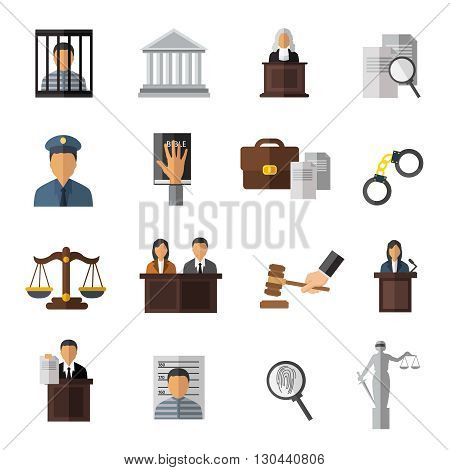 Judicial system icon set elements of trial the judge in the courtroom and man in jail vector illustration