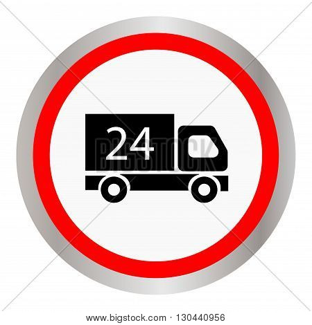 Car 24 hours, delivery 24 hours icon. Vector illustration
