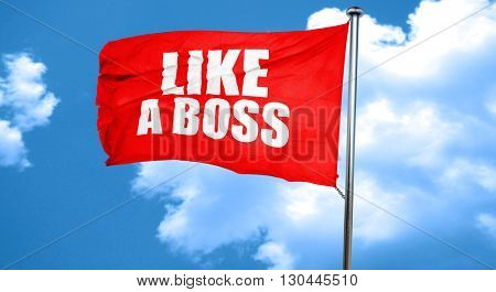like a boss, 3D rendering, a red waving flag