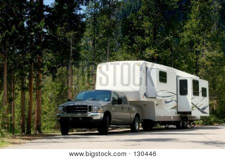 Camper Trailer In Yellowstone