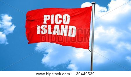 pico island, 3D rendering, a red waving flag