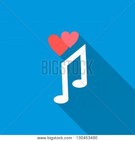 Love song icon in flat style with long shadow. Musical note symbol