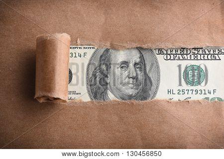 Benjamin Franklin macro through recycled torn paper