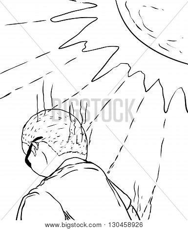 Outline Of Man Getting Sunburned