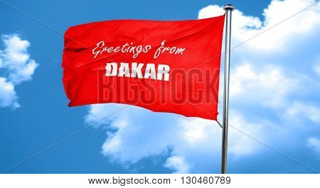 Greetings from dakar, 3D rendering, a red waving flag