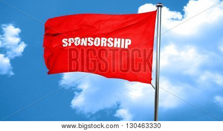sponsorship, 3D rendering, a red waving flag