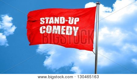 stand-up comedy, 3D rendering, a red waving flag