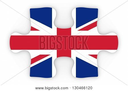 United Kingdom Flag Puzzle Piece Top Down Orthographic 3D Illustration