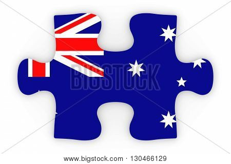 Australian Flag Puzzle Piece Top Down Orthographic 3D Illustration