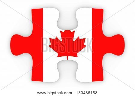 Canadian Flag Puzzle Piece Top Down Orthographic 3D Illustration