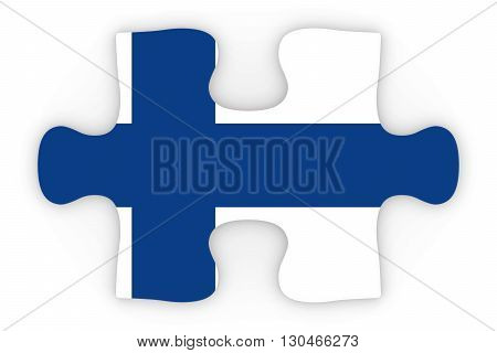 Finnish Flag Puzzle Piece Top Down Orthographic 3D Illustration