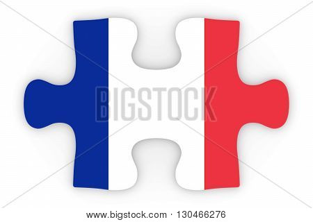 French Flag Puzzle Piece Top Down Orthographic 3D Illustration