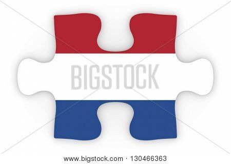 Dutch Flag Puzzle Piece Top Down Orthographic 3D Illustration