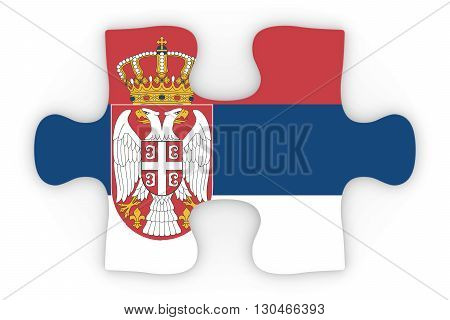 Serbian Flag Puzzle Piece Top Down Orthographic 3D Illustration