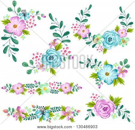 a vector set of blue and turquoise spring flower