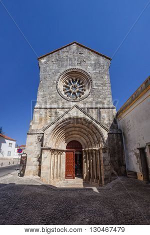 Sao Joao de Alporao Church, showing a Romanesque Portal and Gothic Wheel Window. Built by the Crusader Knights of Hospitaller or Malta Order. 12th and 13th  century. Santarem, Portugal
