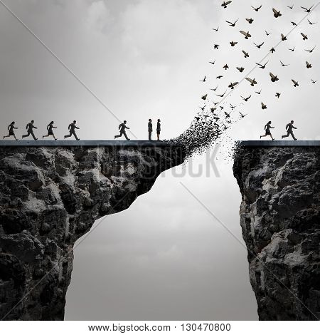 Lost opportunities concept as a too late metaphor with businesspeople running to cross a bridge in time but the link is broken by the mountain flying away in the shape of birds in a 3D illustration style.