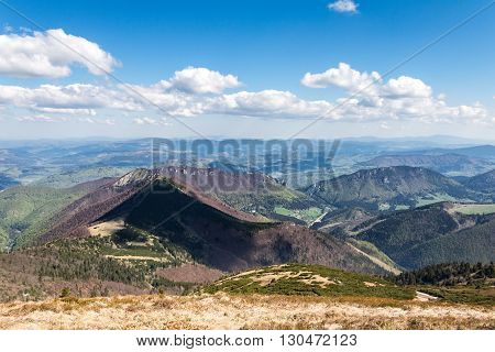 Spring Mountain Landscape With Blue Sky And Clouds