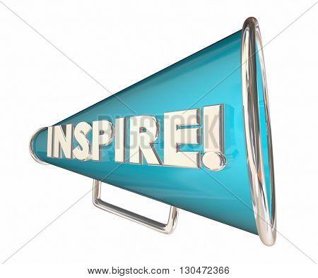 Inspire Bullhorn Megaphone Motivational Word 3d Illustration