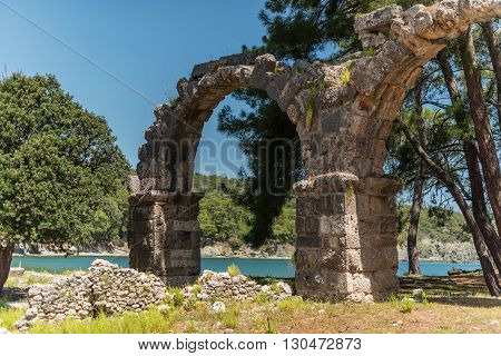 Antique city of Phaselis, Antalya Destrict, Turkey: aqueduct in spring