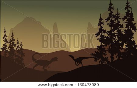 Silhouette of allosaurus and Eoraptor at the afternoon